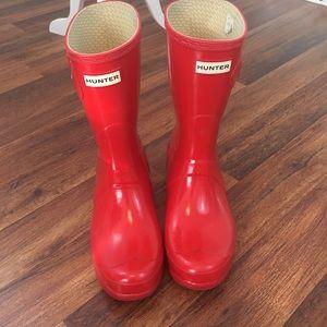 Hunter Red Short Rain Boots